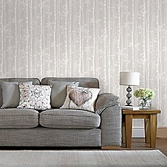 Graham & Brown - Linden Beige & White Branch Tree Print Shimmer Wallpaper