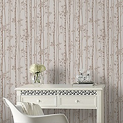 Graham & Brown - Linden Pebble & Rose Gold Branch Tree Print Shimmer Wallpaper