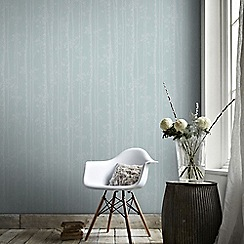 Graham & Brown - Linden Blue & White Branch Tree Print Shimmer Wallpaper