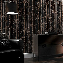 Graham & Brown - Linden Black & Copper Branch Tree Print Shimmer Wallpaper