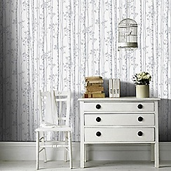 Graham & Brown - Linden Pearl & Grey Branch Tree Print Shimmer Wallpaper