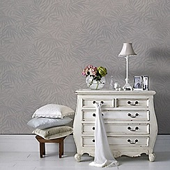 Graham & Brown - Tropic Aqua Beige & Silver Palm Leaf Print Metallic Wallpaper