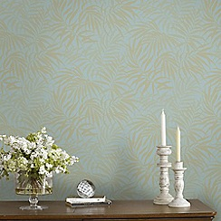 Graham & Brown - Tropic Aqua Blue & Gold Palm Leaf Print Metallic Wallpaper