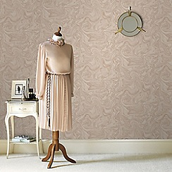 Graham & Brown - Marbled Effect Pebble & Rose Gold Metallic Sheen Wallpaper