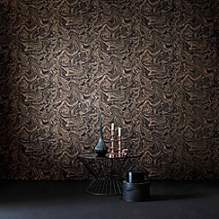 Graham & Brown - Marbled Effect Charcoal & Rose Gold Metallic Sheen Wallpaper