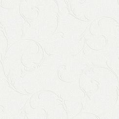 Superfresco - White Lana Scroll Paintable Wallpaper