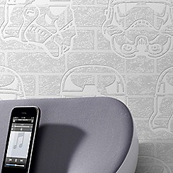 Star Wars - White Star Wars Storm Trooper Paintable Brick Effect Wallpaper