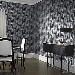 Graham & Brown - Charcoal and Silver Tango Wallpaper