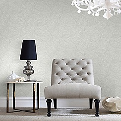 Graham & Brown - White and Silver Twist Wallpaper