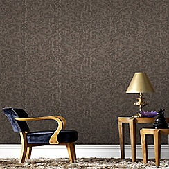 Graham & Brown - Chocolate and Copper Cashmere Wallpaper
