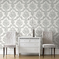 Graham & Brown - White and Silver Opal Damask Wallpaper
