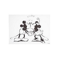 Disney - Disney Retro Mickey & Minnie Black & White Sketch Kissing Canvas Wall Art