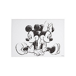 Disney - Disney Vintage Mickey & Minnie Mouse Sketch Sitting Canvas Wall Art