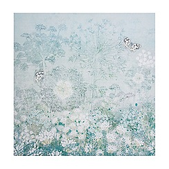 Graham & Brown - Spring Soft Green Floral Meadow Butterfly Printed Canvas Wall Art