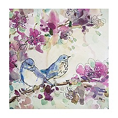 Graham & Brown - Stitched Sequin Spring Birds Floral Printed Canvas Wall Art