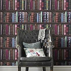 Fresco - Multicoloured Book Shelf  Wallpaper