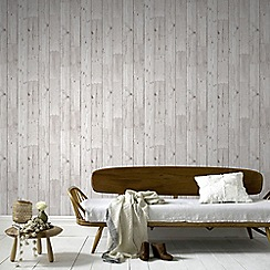 Fresco - Grey Wood Panel Effect Wallpaper