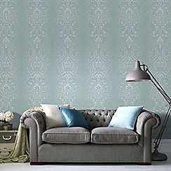 Superfresco - Blue and White Glamour Damask Glitter Wallpaper
