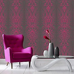 Superfresco - Black and Pink Glamour Damask Glitter Wallpaper
