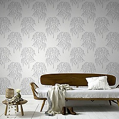 Superfresco Easy - Metallic Silver Willow Tree Paste The Wall Wallpaper