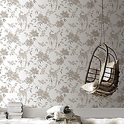 Graham & Brown - Gold Singapore Oriental Floral Trail Glitter Wallpaper