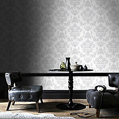 Graham & Brown - Silver Johor Damask Subtle Glitter Wallpaper