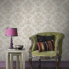 Graham & Brown - Gold Johor Damask Subtle Glitter Wallpaper