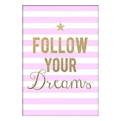 Graham & Brown Kids - Follow Your Dreams Inspirational Quote Stripe Glitter Printed Canvas Wall Art
