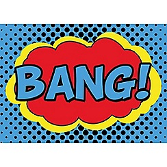 Graham & Brown Kids - Retro Cartoon Comic Bang Quote Printed Canvas Wall Art