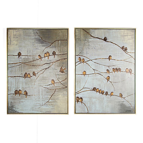 Graham & Brown - Gold Flock Of Birds Hand painted Framed Canvas