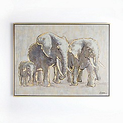 Graham & Brown - Metallic Elephant Family Hand painted Framed Canvas
