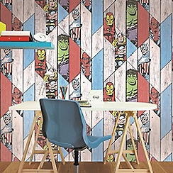 Marvel - Marvel Wood Panel Thor Spiderman Hulk Captain America Wallpaper