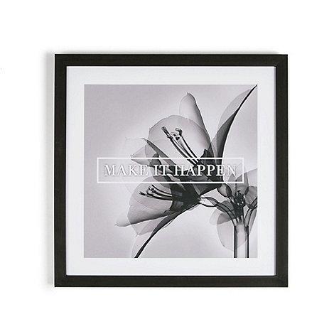 Graham & Brown - Grey Make It Happen Quote Floral Framed Print