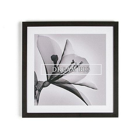 Graham & Brown - Grey Dream Big Quote Floral Framed Print