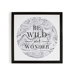 Graham & Brown - Grey Be Wild & Wonder Quote Framed Print