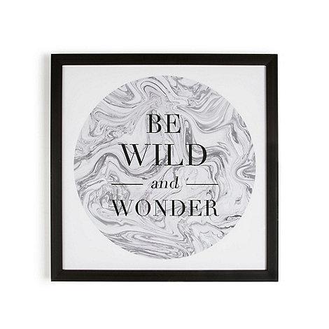 Graham & Brown - Grey Be Wild & Wonder Quote Framed Print