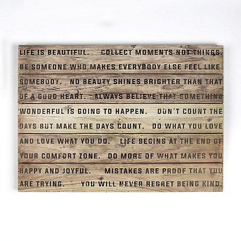 Graham & Brown - Brow Life Is Beautiful Quotes Printed On Wood