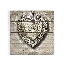 Graham & Brown - Brown Love Heart Printed On Wood