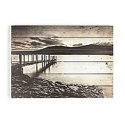 Graham & Brown - Brown Tranquil Jetty Setting Printed On Wood