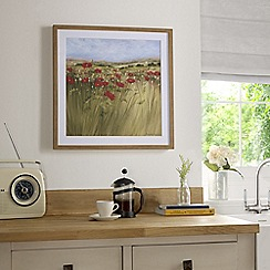 Graham & Brown - Red Hand painted Poppy Meadow Framed Print