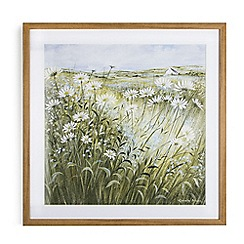 Graham & Brown - Green Hand painted Daisies and Forget Me Nots Framed Print