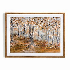 Graham & Brown - Orange Hand painted Amber Woodland Framed Print