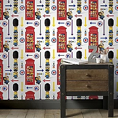Graham & Brown Kids - Yellow Universal Studios Minions Hello London Kids Wallpaper