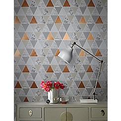 Graham & Brown - Copper Reflections Geometric Wallpaper
