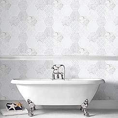 Contour - Grey Hexagonal Marble Textured Wallpaper
