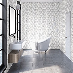 Contour - Rose Gold Marble Marquetry Textured Wallpaper