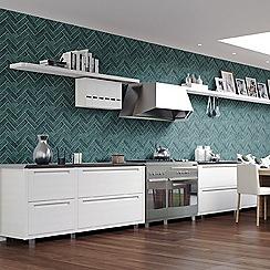 Contour - Teal Lustro Textured Tiled Wallpaper
