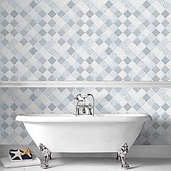 Contour - Blue Horizon Tiled Wallpaper