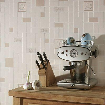 Contour Beige Cafe Culture Wallapaper - . -