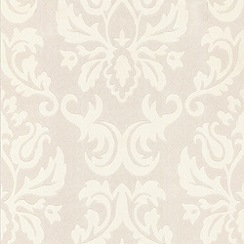 Superfresco Paintables - White Large Wall Damask Wallpaper